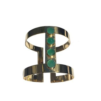 Gold Cuff With Emerald Green Stones