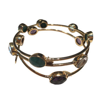 Multistone Gemstone Gold Bangle