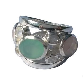 Aqua Multistone Solid Silver Ring Baroque
