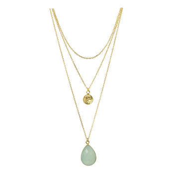 Aqua Chalcedony Gold Necklace Three Layers