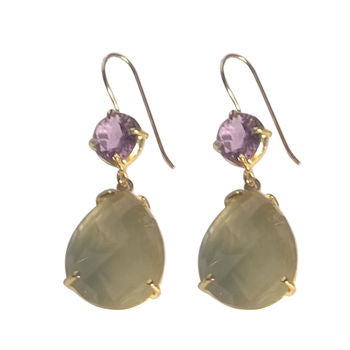 Gold Purple Amethyst And Chalcedony Drop Earrings