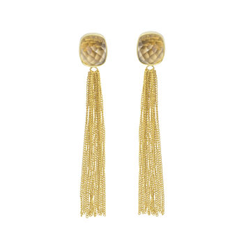 Smoky Topaz Earrings Gold Fringe Earrings