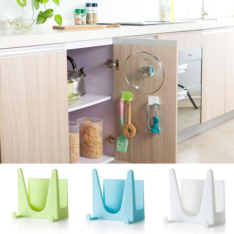 Super Deal Plastic Kitchen Pot Pan Cover Shell Cover Sucker Tool Bracket Storage Rack