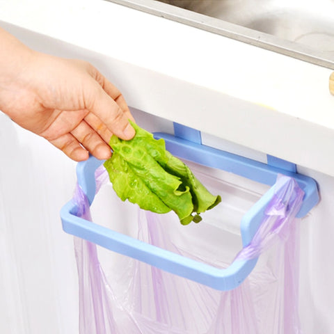 Cupboard Door Back Trash Rack Storage Garbage Bag Holder Hanging Kitchen Cabinets Storage Towel Shelf Holders