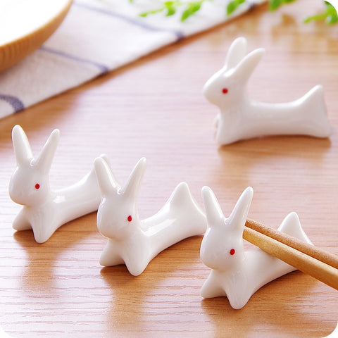 5pcs Cute duck/rabbit shape ceramic Chopsticks holder Chop stick Stand Rest Rack holder for spoons and forks kitchen organizer