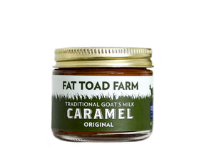 jar of caramel with toad image and green label