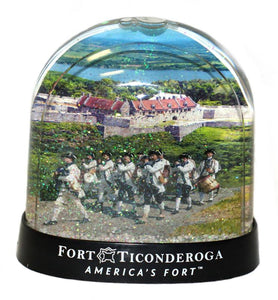 snow globe with fife and drum and Fort Ticonderoga inside