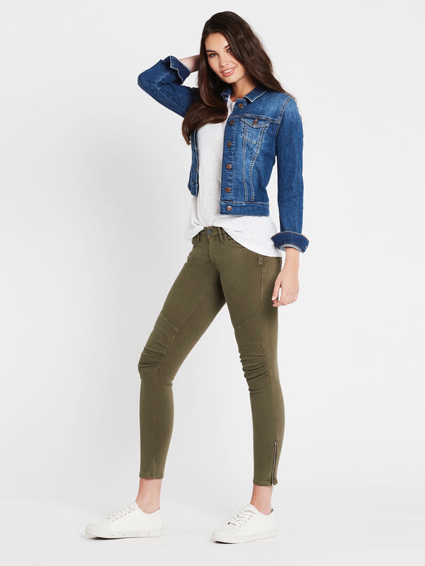 Samantha Crop Denim Jacket Mid Shaded Stretch - Mavi Jeans