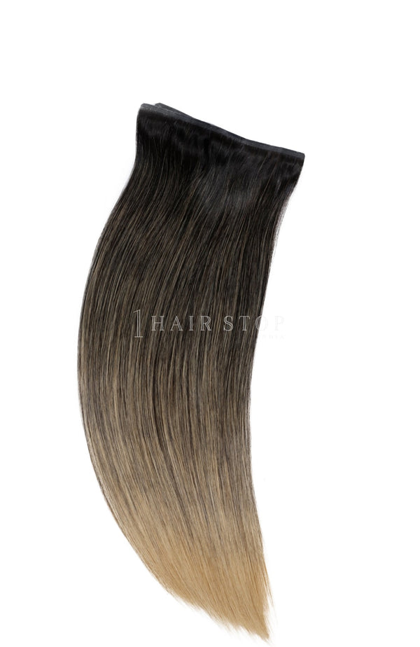 Invisi Clip-In Extensions Straight Ombré Black To Blonde (1B/27) Clip-In