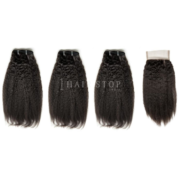 Mink Brazilian Kinky Straight Virgin Hair 3 Bundles With Lace Closure