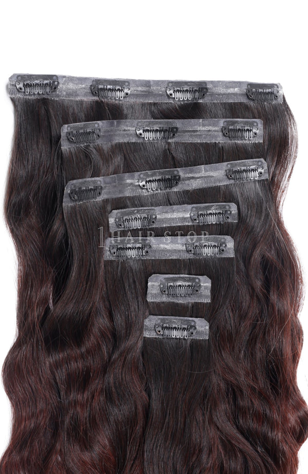 Invisi Clip-In Extensions Wavy Ombre Black To Red Clip-In