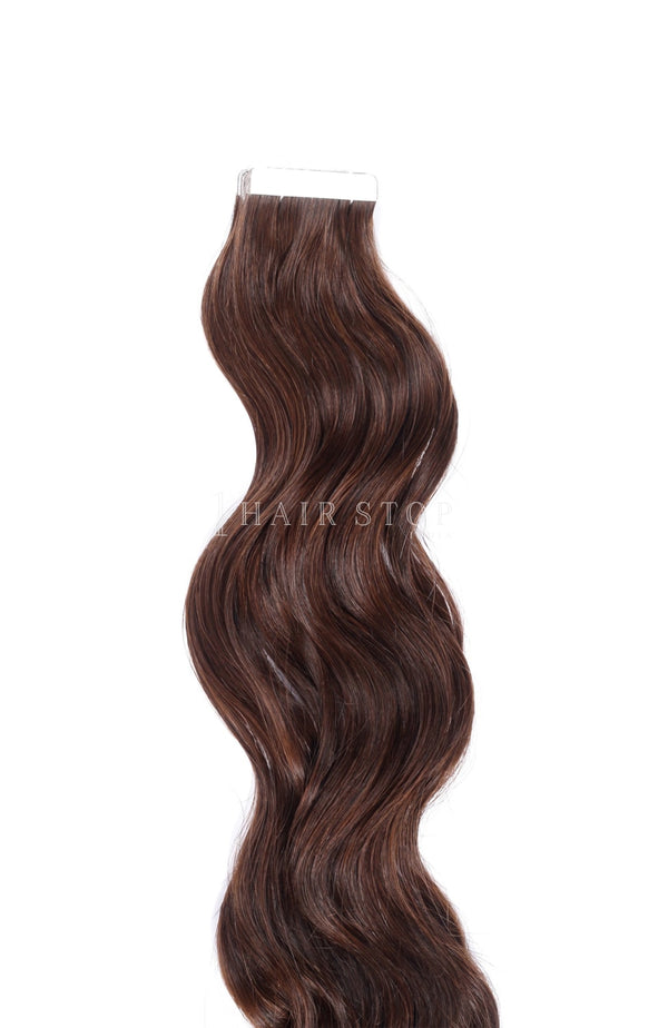 Wavy Brown Tape in Extensions