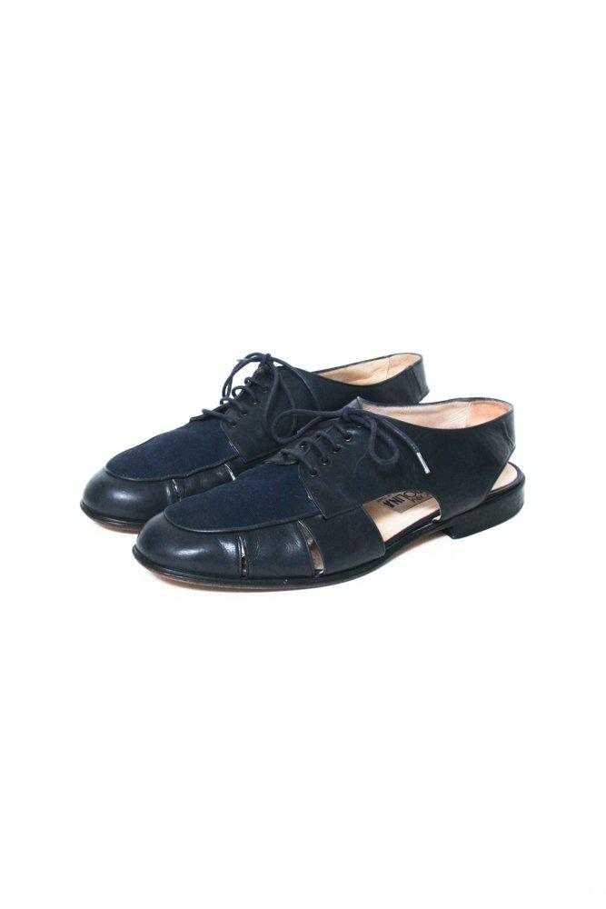 0585_NAVY LEATHER 41 VINTAGE CUT OUT BROGUES