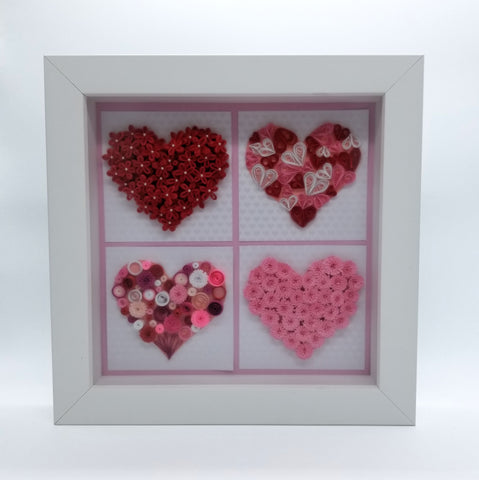Four Quilled Hearts in White Frame