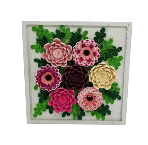 Quilled Flowers on White Wood Plaque