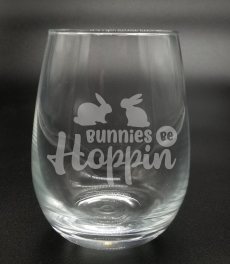Bunnies be Hoppin - Etched Glass