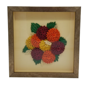 Quilled Mums with Gold Frame