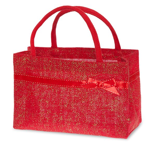 Red and Gold Jute Handle Bag with Red Bow Trim