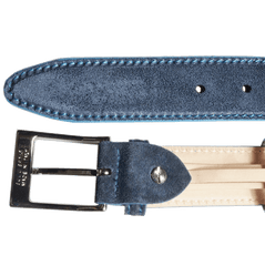 34mm Suede Belt With Lacquered Edge Navy | Buy MEN - ACCESSORIES - BELTS Products Online With the Best Deals at Anbmart.com.au!