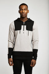2 Tone Half Zip Pullover Hoodie - MEN - APPAREL - SWEATERS - PULL OVER - Mates In Style Fashion
