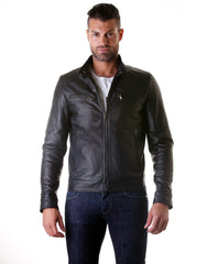 Men's Leather Jacket Genuine Soft Leather Biker Mao Collar Mao Black Color Mod.Emiliany | Buy MEN - APPAREL - OUTERWEAR - JACKETS Products Online With the Best Deals at Anbmart.com.au!
