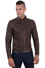 Men's Genuine Leather Biker Jacket Brown Color | Buy MEN - APPAREL - OUTERWEAR - JACKETS Products Online With the Best Deals at Anbmart.com.au!