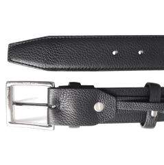 34mm Duo Ply Calf Leather Belt Black | Buy MEN - ACCESSORIES - BELTS Products Online With the Best Deals at Anbmart.com.au!