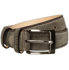 34mm Suede Belt With Lacquered Edge Grey | Buy MEN - ACCESSORIES - BELTS Products Online With the Best Deals at Anbmart.com.au!