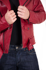 Men's Leather Biker Jacket Belted Red Perfecto | Made In Italy - MEN - APPAREL - OUTERWEAR - JACKETS - Mates In Style Fashion