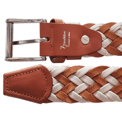 34mm Cotton & Suede Braided Belt Brown | Buy MEN - ACCESSORIES - BELTS Products Online With the Best Deals at Anbmart.com.au!