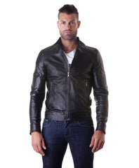 Leather Jacket With Quilt On Shoulder And Central Zip Black Color Mod.Emy - MEN - APPAREL - OUTERWEAR - JACKETS - Mates In Style Fashion