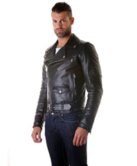 Men's Leather Biker Jacket Belted Black Perfecto | Made In Italy | Buy MEN - APPAREL - OUTERWEAR - JACKETS Products Online With the Best Deals at Anbmart.com.au!