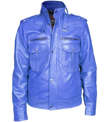 Men Blue Biker Leather Jacket | Buy MEN - APPAREL - OUTERWEAR - JACKETS Products Online With the Best Deals at Anbmart.com.au!