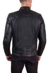 Men's Leather Jacket  Genuine Soft Leather Biker Mao Collar Quilted Yoke Black Color U411 | Buy MEN - APPAREL - OUTERWEAR - JACKETS Products Online With the Best Deals at Anbmart.com.au!