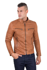Men's Leather Jacket  Korean Collar Four Pockets Tan Color Hamilton - MEN - APPAREL - OUTERWEAR - JACKETS - Mates In Style Fashion