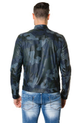 Men's Leather Jacket Blue Camouflage Ted - MEN - APPAREL - OUTERWEAR - JACKETS - Mates In Style Fashion