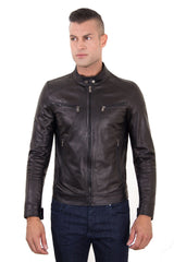 Men's Genuine Leather Biker Jacket Black Color | Buy MEN - APPAREL - OUTERWEAR - JACKETS Products Online With the Best Deals at Anbmart.com.au!