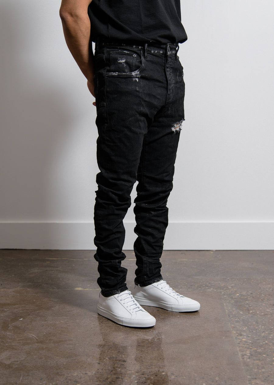 Dropped Fit Jean Black Red Metallic