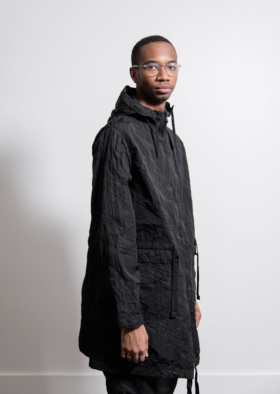 Packable Imprint Nylon Parka Black