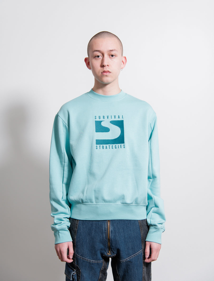 Berg Embroidered Crewneck Sweater Turquoise