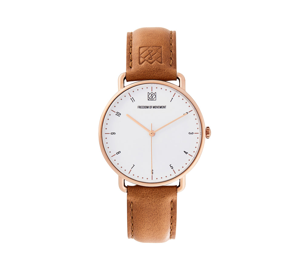 White / Rose Gold Alice Watch with Tan Leather Strap