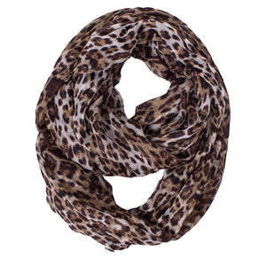 Sophisticated Leopard Animal Print Infinity Scarf