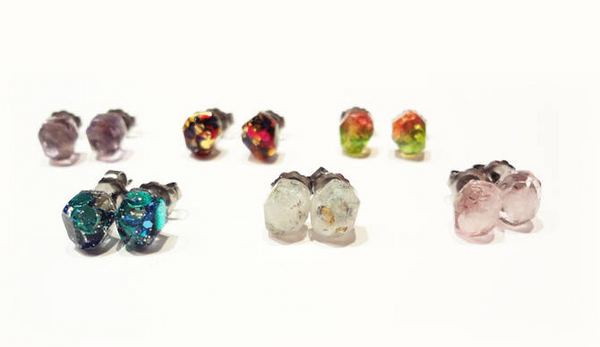 Tiny Resin Gem Earrings