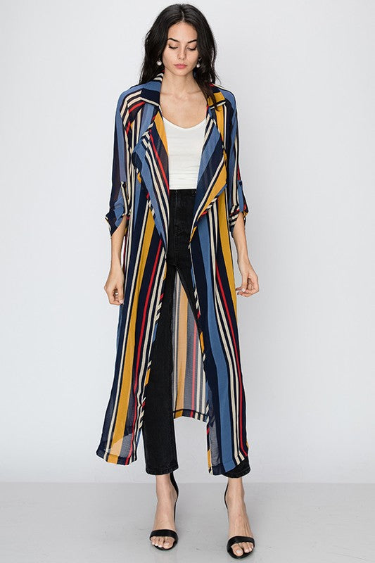 Stripe shawl collar longline blazer with tie