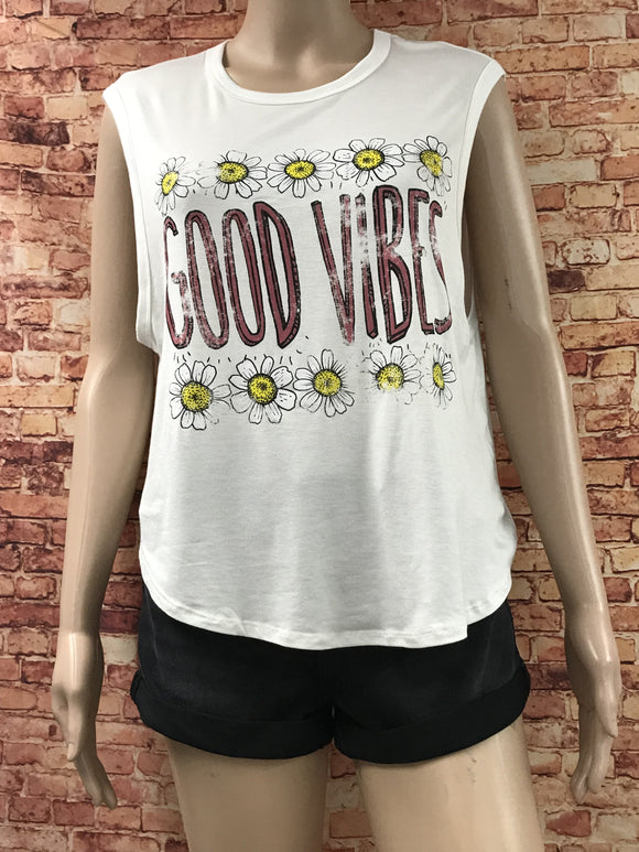 good vibes daisy sleeveless graphic tank - by Clothing of America - available at rkcollections.myshopify.com -  - Tops