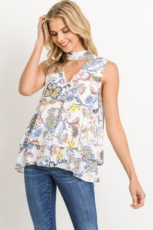 Sleeveless Choker Band Floral Blouse - by Gilli - available at rkcollections.myshopify.com -  - Tops