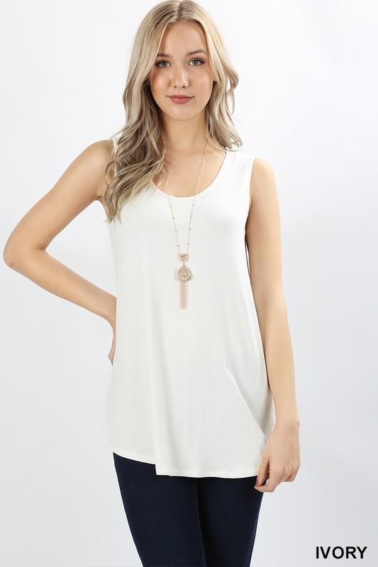 Sleeveless Round Neck Top with Rounded Hem - by Zenana - available at rkcollections.myshopify.com - Ivory / XL - Tops