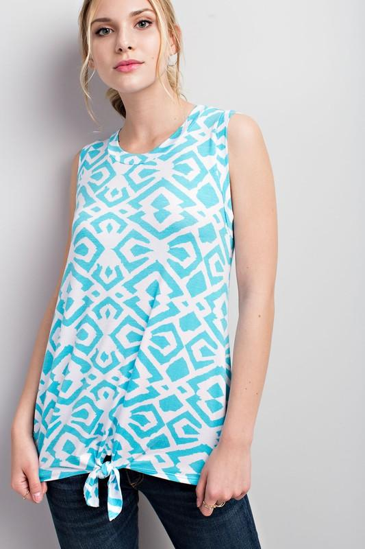 tribal print sleeveless jersey tie front top - by 12PM by Mon Ami - available at rkcollections.myshopify.com -  - Tops