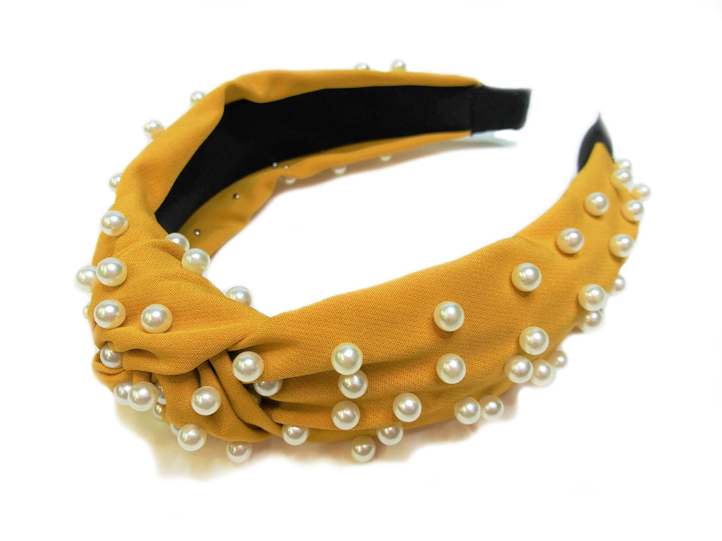 Yellow Ochre Headband with Faux Pearls