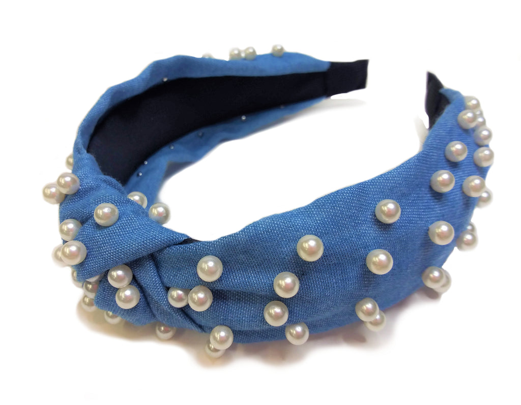 Light Blue Headband with Faux Pearls